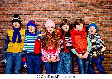 groupe, de, printemps, enfants