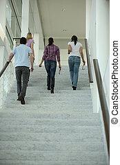 groupe de quatre personnes, marche, escaliers haut