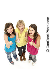 groupe, de, trois, jeunes filles, dans, studio