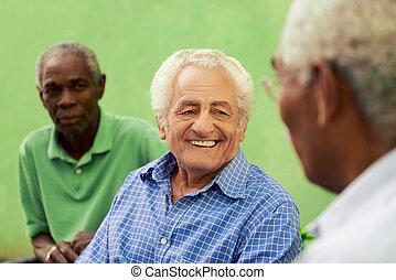 groupe, de, vieux, noir, caucasien, hommes parler, dans parc