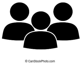 groupe, debout, ensemble, gens, icône