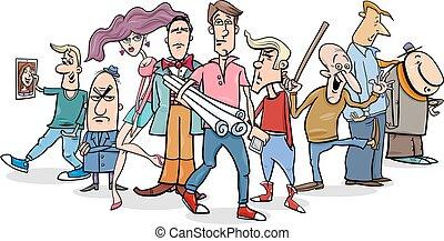 groupe, dessin animé, gens