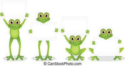 groupe, dessin animé, grenouille