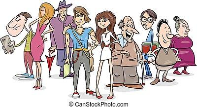 groupe, dessin animé, illustration, gens