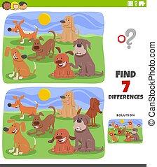 groupe, différences, pédagogique, chiens, jeu