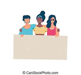 groupe, divers, tenue, vide, girl, bannière, heureux