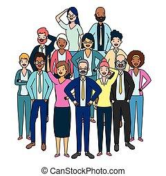 groupe, diversité, gens