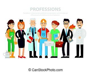 groupe, docteur, blanc, day., ouvriers, vecteur, style., illustration, homme affaires, professions, gens, plat, cuisinier, heureux, arrière-plan., steward, constructeur, différent, main-d'œuvre, infirmière, jardinier