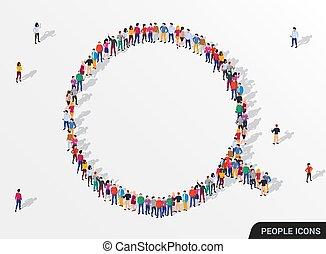 groupe, employé, grand, magnifier, gens, verre., formulaire, concept., recherche