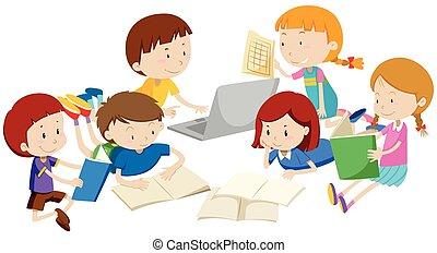 groupe, enfants, apprentissage