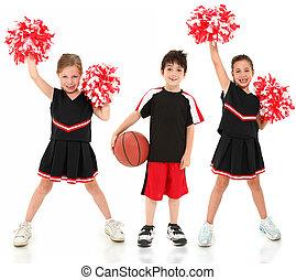 groupe enfants, cheerleaders, et, joueur basket-ball