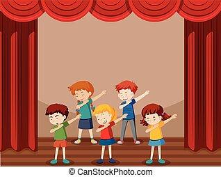 groupe, enfants, danse