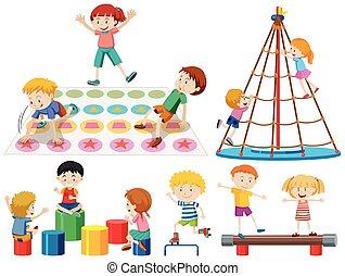 groupe, enfants jouer