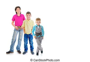 groupe enfants, poser