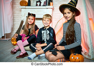 groupe enfants, sur, halloween
