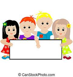 groupe enfants, tenue, a, bannière