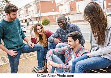 groupe ensemble, dehors, amusement, amis, avoir