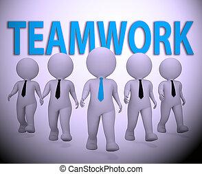 groupe ensemble, rendre, collaboration, hommes affaires, indiquer, 3d