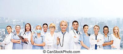 groupe, equipe soignant, femme, médecins, ou
