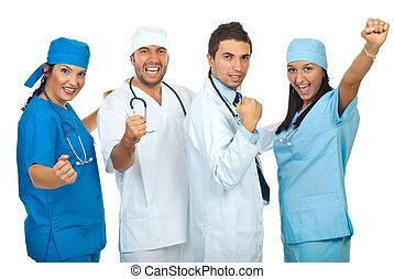 groupe, excité, médecins