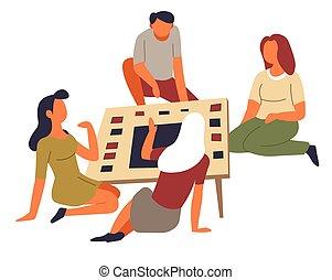 groupe, famille, divertissement, loisir, jeu, passe-temps, activité, table