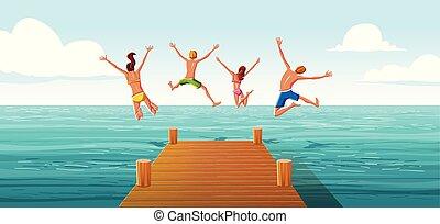 groupe, famille, gens, bois, sauter, mer, water., amusement, jetée, avoir