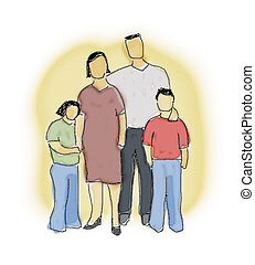groupe, famille, illustration
