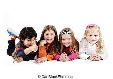 groupe, famille, plancher, pose, isolé, enfants, terrestre