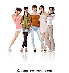 groupe, femmes asiatiques