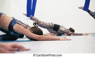 groupe, filles, jeune, club., fitness, survêtements