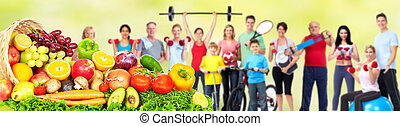 groupe, fitness, nourriture., gens
