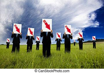 groupe, flèche, graphique, bas, noir, tenue, complet, homme affaires, rouges