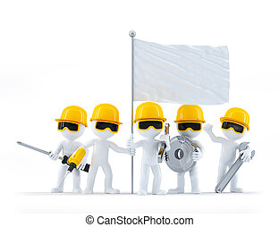 groupe, flag., workers/builders, isolé, construction, fond, vide, blanc, outils