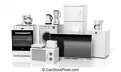 groupe, fond, isolé, appareils, maison, blanc