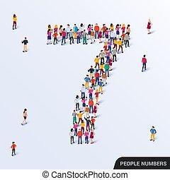 groupe, formulaire, grand, gens, 7, numéro sept