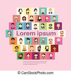 groupe, foule, gens, grand, bannière, mélange, course, ethnique, divers, désinvolte