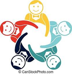 groupe, garçons, vecteur, collaboration, logo, conception, five.