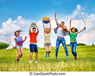 groupe, gens, à, enfants, running.