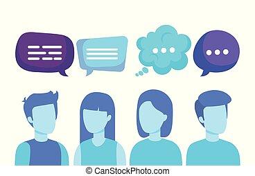 groupe gens, à, parole, bulles