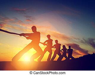 groupe gens, équipe, traction, ligne, jouer, remorqueur, de,...