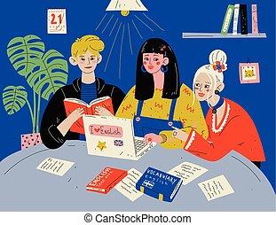 groupe, gens, étudiants, étudier, books., english., apprendre, classroom.
