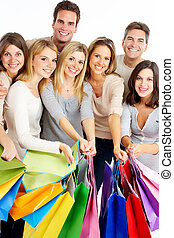 groupe, gens., achats