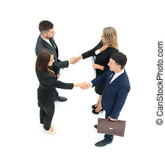 groupe gens affaires, confection, handshake., isolé, blanc, bac