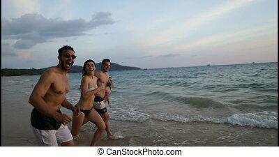 groupe, gens, amis, ensemble, gai, mélange, courant, course, mer, amusement, plage, avoir, heureux