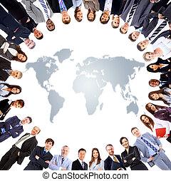 groupe gens, autour de, a, planisphère