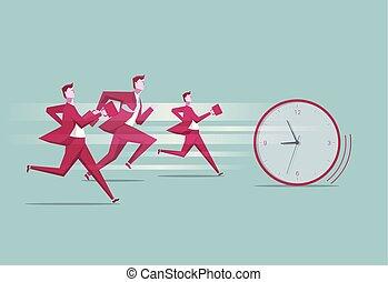 groupe, gens, chassé, contre, time., course, clock.