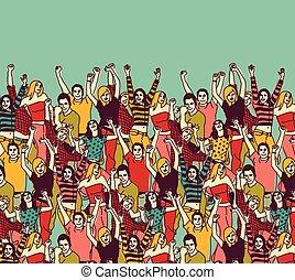 groupe, gens colorent, ciel, jeune, audience, heureux