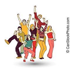 groupe, gens colorent, isoler, jeune, blanc, heureux