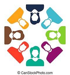 groupe, gens, communication, symbole, équipe, icône, icon.