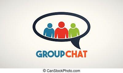 groupe, gens, communication, vecteur, social, logo